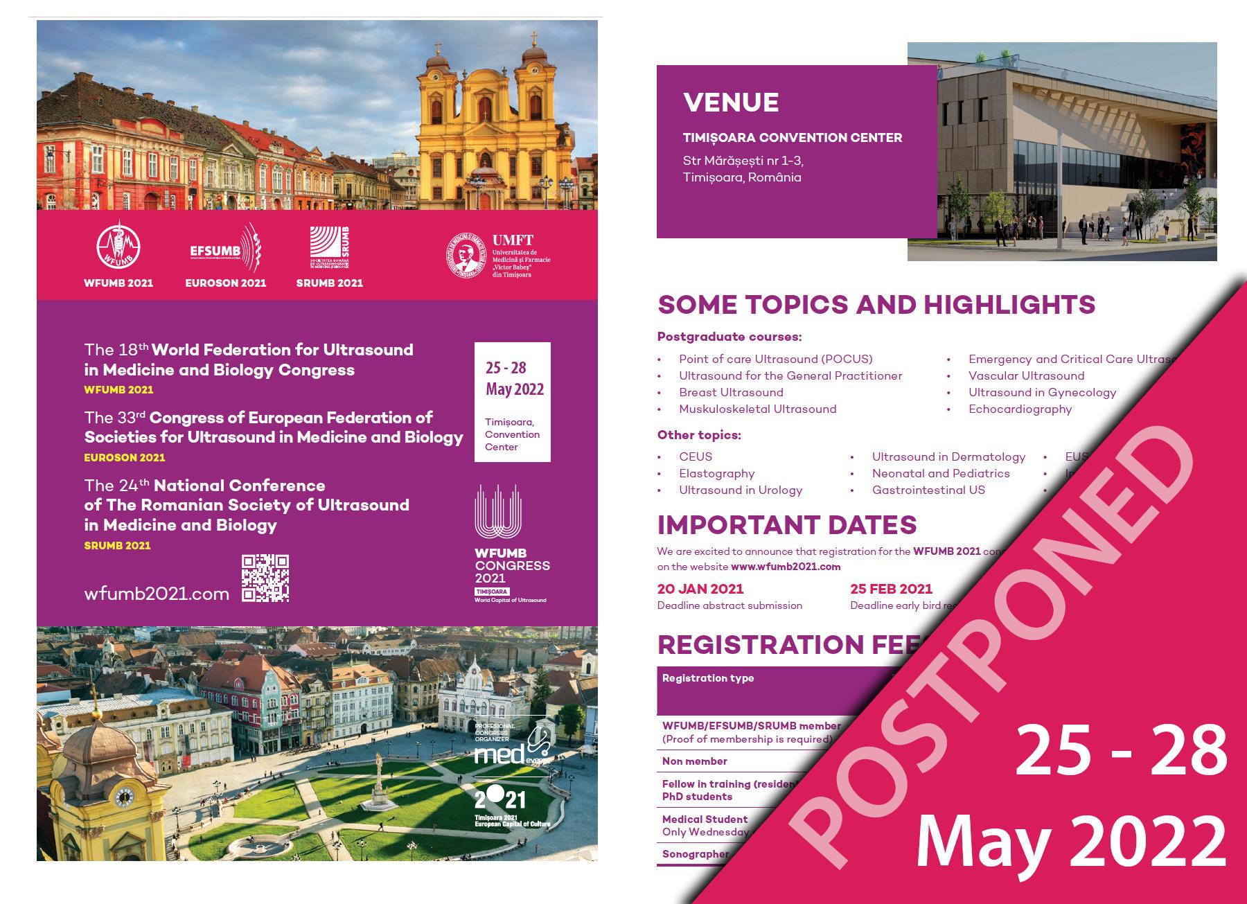 WFUMB 2021, Timisoara<BR/> NOW POSTPONED TO 25 - 28 May 2022
