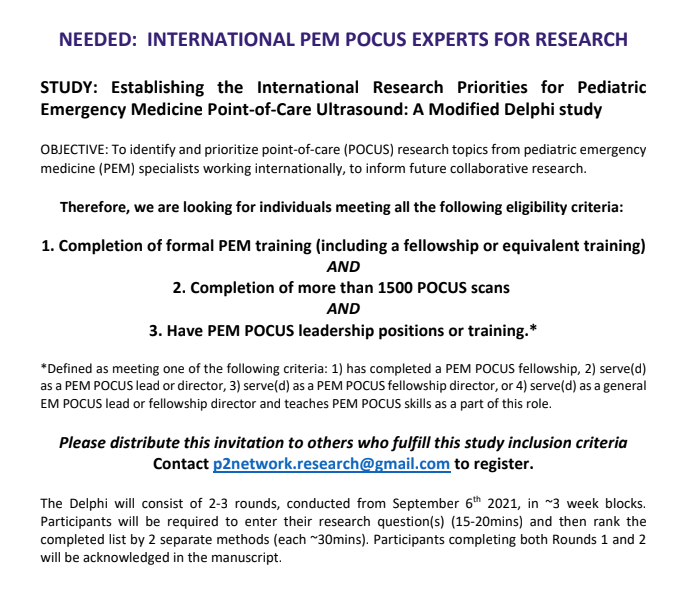 NEEDED: INTERNATIONAL PEM POCUS EXPERTS FOR RESEARCH